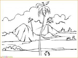 Sketsa Gambar Pemandangan Alam 04