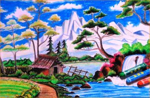 Sketsa Gambar Pemandangan Alam Berwarna 00