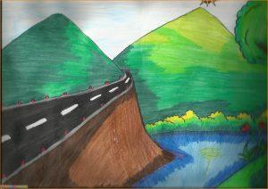 Sketsa Gambar Pemandangan Alam Berwarna 08