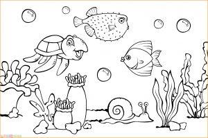 Sketsa Gambar Pemandangan Bawah Laut 00