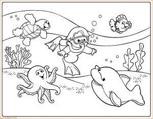Sketsa Gambar Pemandangan Bawah Laut 01