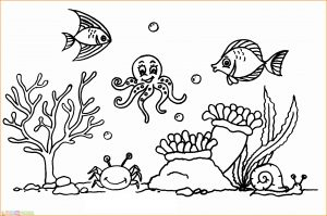 Sketsa Gambar Pemandangan Bawah Laut 03