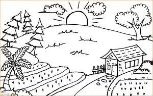 Sketsa Gambar Pemandangan Desa 00