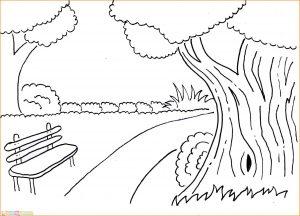 Sketsa Gambar Pemandangan Desa 02