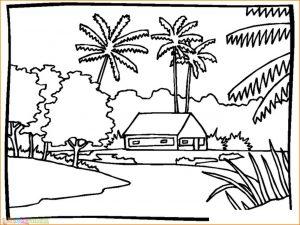 Sketsa Gambar Pemandangan Desa 03