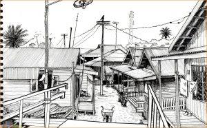 Sketsa Gambar Pemandangan Desa 05