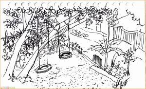 Sketsa Gambar Pemandangan Desa 09