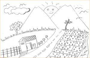 Sketsa Gambar Pemandangan Desa 12