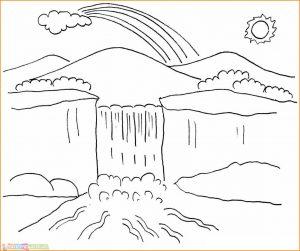 Sketsa Gambar Pemandangan Gunung 01