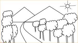 Sketsa Gambar Pemandangan Gunung 03