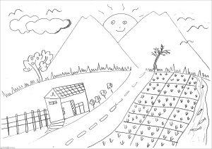 Sketsa Gambar Pemandangan Gunung 04