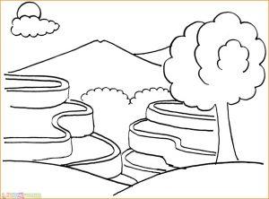 Sketsa Gambar Pemandangan Gunung 06
