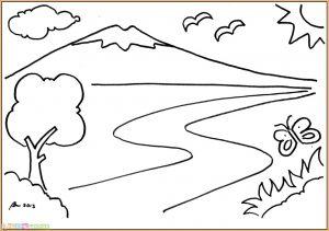 Sketsa Gambar Pemandangan Gunung 07