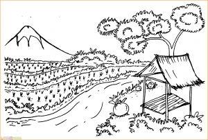 Sketsa Gambar Pemandangan Gunung 09