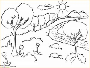 Sketsa Gambar Pemandangan Gunung 10