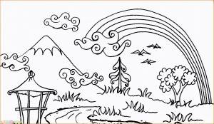 Sketsa Gambar Pemandangan Gunung 14