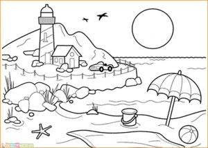 Sketsa Gambar Pemandangan Gunung 15
