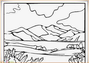 Sketsa Gambar Pemandangan Gunung 16