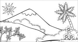 Sketsa Gambar Pemandangan Gunung 17
