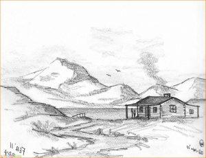 Sketsa Gambar Pemandangan Gunung 18