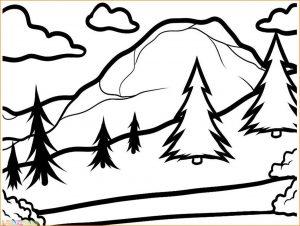 Sketsa Gambar Pemandangan Gunung 19