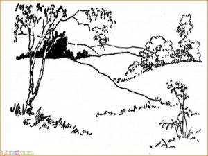 Sketsa Gambar Pemandangan Gunung 20