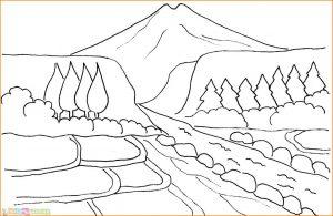 Sketsa Gambar Pemandangan Gunung 21