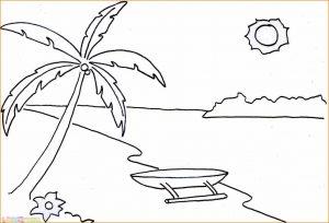 Sketsa Gambar Pemandangan Laut 01