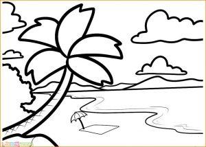 Sketsa Gambar Pemandangan Laut 05