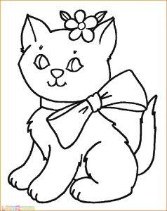 Sketsa Hewan Kucing Pakai Pita