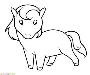 Sketsa Hewan Lucu Kuda