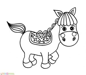 Sketsa Hewan Lucu Kuda Poni