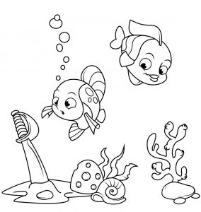 Warnai Gambar Binatang Laut Ikan