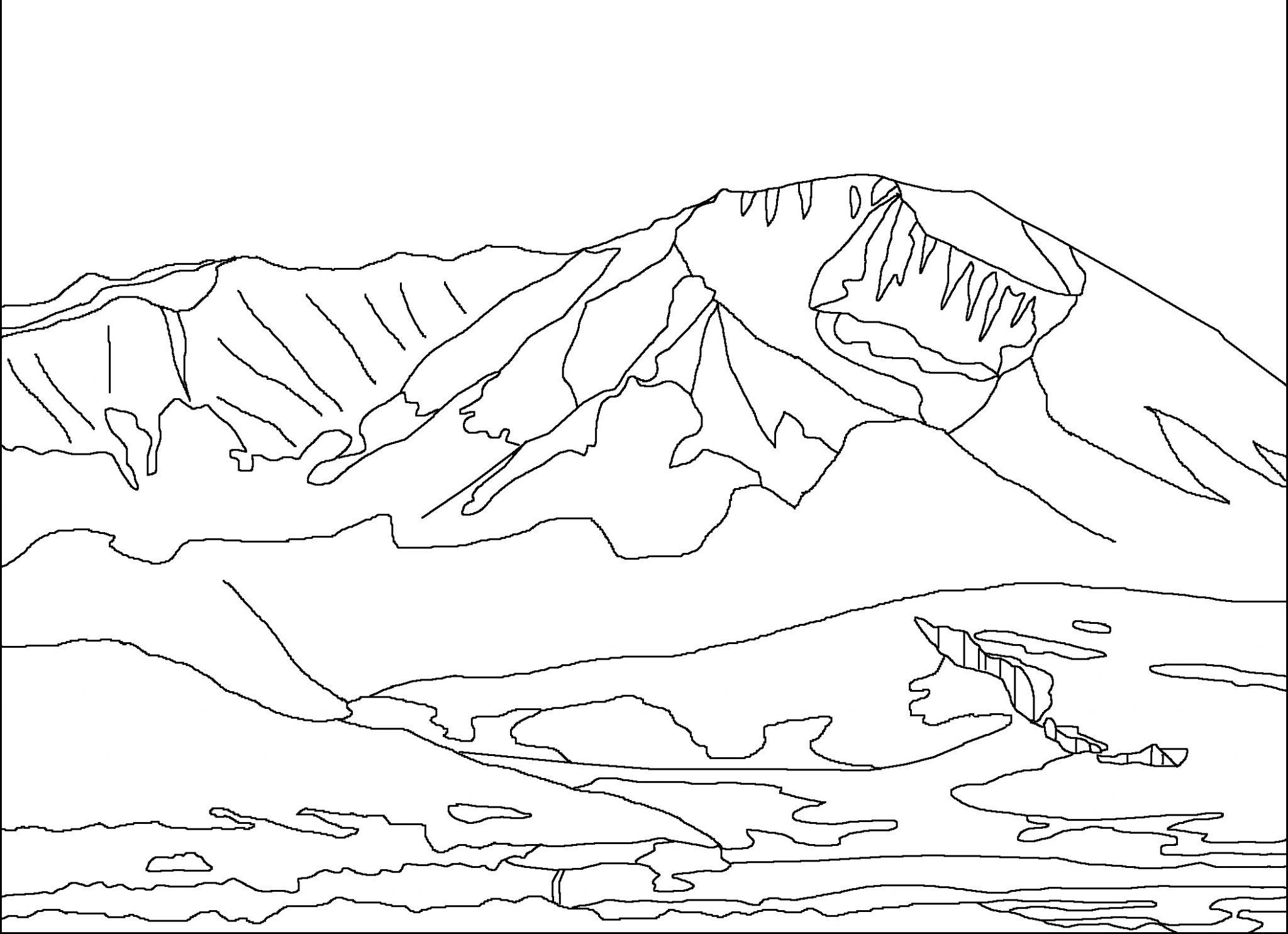 √15 Mewarnai Gambar Pemandangan Gunung Anak TK Paud Dan