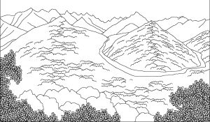mewarnai gambar pemandangan gunung dan hutan