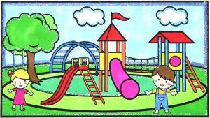 contoh gambar mewarnai waterpark berwarna