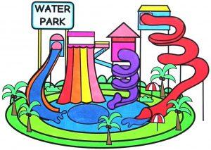 contoh mewarnai gambar waterpark berwarna