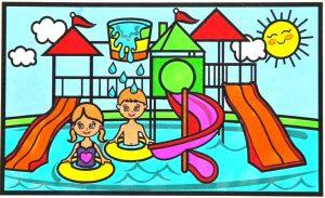 gambar mewarnai waterboom 2 berwarna