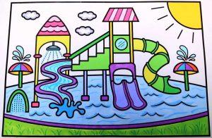 gambar mewarnai waterpark 3 berwarna
