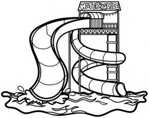 contoh gambar waterboom untuk diwarnai