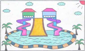mewarnai gambar waterpark 2 berwarna