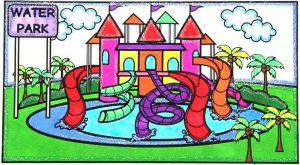 mewarnai gambar waterpark berwarna